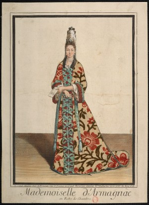 Mademoiselle d'Armagnac in a Dressing Gown, Antoine Trouvain, 1695. Lent by the Bibliothèque nationale de France, Département des Estampes et de la Photographie. Photo credit: BnF
