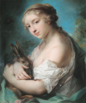 Rosalba Carriera, Girl with a Rabbit, ca. 1720–30, pastel on paper (The Huntington Library, Art Collections, and Gardens: Adele S. Browning Memorial Collection)