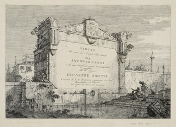 Canaletto (Giovanni Antonio Canal), Title Plate, Vedute Series, ca. 1744, etching on laid paper (Hood Museum of Art, Dartmouth College: Gift of Jean Weil in memory of Adolph Weil Jr., Class of 1935; PR.997.5.22)