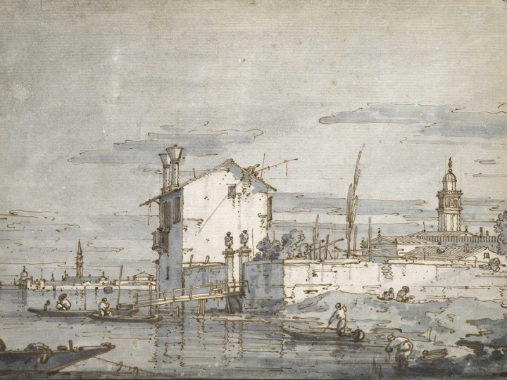Giovanni-Antonio-Canal-known-as-Canaletto-1697-1768-An-Island-in-the-Lagoon-Pen-brown-ink-with