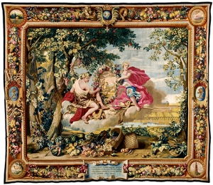 Autumn, after 1664, tapestry, wool, silk and gilt-metal wrapped thread, Gobelins Manufactory, cartoon attributed to Beaudrin Yvart (French, 1611–1690), after Charles Le Brun (French, 1619–1690), The Mobilier National, France. Photo by Lawrence Perquis.
