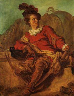 Jean-Honoré Fragonard, Cavalier assis près d'une fontaine, ca. 1769 (Barcelone, MNAC, Museu Nacional d'Art de Catalunya de Bellas Artes)