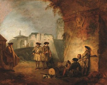 Jean-Antoine Watteau, The Portal of Valenciennes (La Porte de Valenciennes),ca. 1711−12, oil on canvas, 12 3/4 x 16 inches (New York: The Frick Collection; photo by Michael Bodycomb)