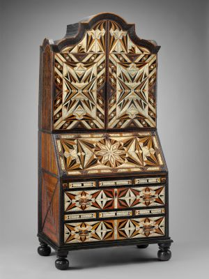 Desk and bookcase, mid-18th century, Mexico. Inlaid woods and incised and painted bone, maque, gold and polychrome paint, metal hardware (Museum of Fine Arts, Boston).