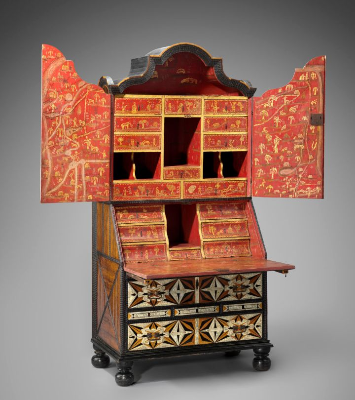 Desk and bookcase mid 18th century Inlaid woods and incised and painted bone, maque, gold and polychrome paint, metal hardware *Ann and Gordon Getty Collection *Courtesy, Museum of Fine Arts, Boston
