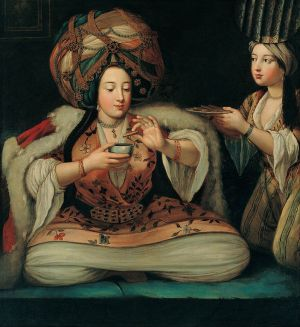 French School, Enjoying Coffee, first half of the eighteenth century, oil on canvas, 112 x 102 cm (Istanbul: Pera Museum)