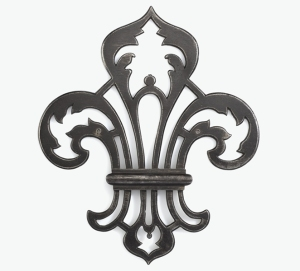 Escutcheon, 18th century, France, wrought iron and rolled iron, stamped and with openwork, 19.3 × 16.4 × 0.8 cm (Rouen: Musée de la Ferronnerie Le Secq des Tournelles, Inv. LS S.N.3)