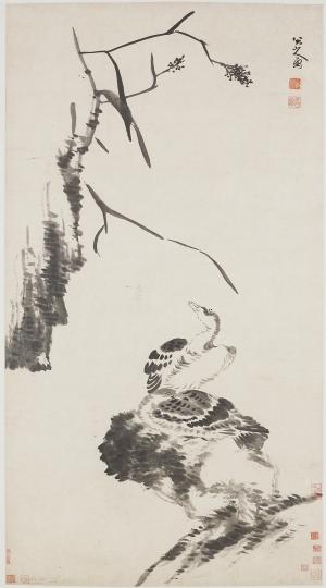 Bada Shanren (Zhu Da), Two Geese, ca. 1700, Qing dynasty; hanging scroll, ink on paper, 184.1 x 90.6 cm (Freer Gallery of Art, Smithsonian, F1998.47)