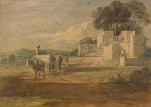 Thomas Gainsborough, Landscape with Horse and Cart, and Ruin Watercolor, oil and black chalk on laid paper; varnished (The Morgan Library and Museum)