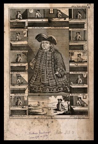 V0007014 Matthias Buchinger, a phocomelic, with thirteen scenes repre