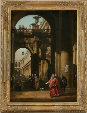 Bernardo Bellotto, Architectural Capriccio with a Self-Portrait in the Costume of a Venetian Nobleman, ca. 1762–65, oil on canvas, 61 x 44 inches.