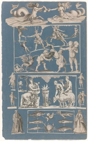 Blue album sheet with cut out prints of various printmakers, ca. 1690-1720