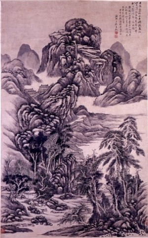 Wang Jiu, Chinese, Landscape in the Manner of Wang Meng, dated 1774; hanging scroll, ink on paper 136.8 x 64.1 cm (Nortom Museum of Art; photography by C.J. Walker)