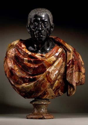 Horace, Rome, 17th century, Red Imperial Porphyry and Breccia Pernice marble , 54.5 cm wide, 71.5 cm high.
