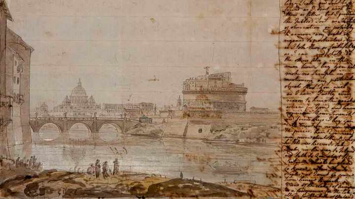 A-letter-from-Joseph-Wright-including-sketches-of-Castel-Saint'-Angelo-and-Saint-Peter's,-1774-credit---Derby-Museums-Trust