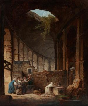 Hubert Robert, Hermit in the Colosseum, 1790, oil on canvas, Lent by the Michael L. Rosenberg Foundation 29.2004.2
