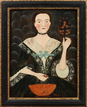 Artist unknown, Portrait of a Woman with a Bowl of Cherries, ca. 1770–1780, oil on panel, 28 × 23 × 2 1/2 in. (San Marino: The Huntington Library, Art Collections, and Botanical Gardens; Jonathan and Karin Fielding Collection; photo by Fredrik Nilsen)