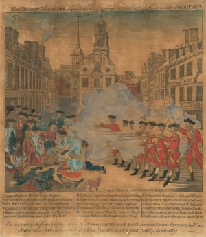 Paul Revere (American, 1735 - 1818 ), The Boston Massacre, 1770, hand-colored engraving, Rosenwald Collection 1943.3.9042