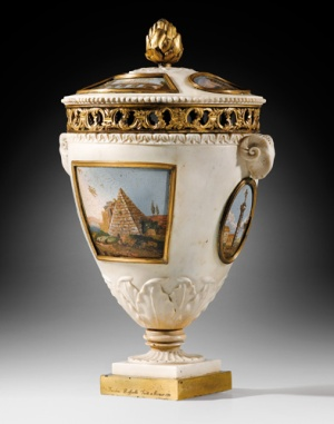 A gilt-bronze mounted white marble micromosaic vase with cover signed by Giacomo Raffaelli and dated 1777.
