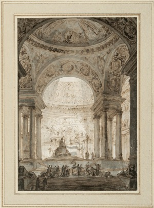 Charles Michel-Ange Challe (1718–1778), Interior View of an Ancient Temple with the Figure of a Goddess, ca. 1742–49 (MMFA, gift of Dr. Sean B. Murphy)