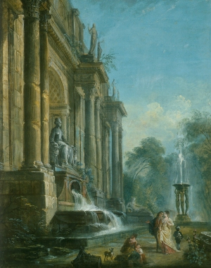 Jean‑Baptiste Lallemand (1716–1803), Classical Ruins, gouache on paper mounted on cardboard. 61.1 × 44.6 cm (MMFA, Lady Davis Bequest)