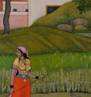 Detail of The Village Beauty. Probably painted by the artist Fattu (active ca. 1770–1820). Illustrated folio from the dispersed 'Kangra Bihari' Sat Sai (Seven Hundred Verses). Punjab Hills, kingdom of Kangra, ca. 1785. Opaque watercolor, ink, and gold on paper; narrow yellow and white borders with black inner rules; dark blue spandrels decorated with gold arabesque; painting 18.7 x 13.2 cm, page 20.6 x 14.9 cm. Promised Gift of the Kronos Collections, 2015 (SK.082).