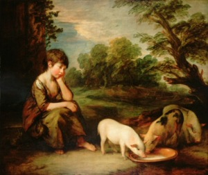 Thomas Gainsborough, Girl with Pigs, 1781–82 (The Castle Howard Collection). Owned by Sir Joshua Reynolds.