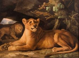 George Stubbs, A Lion and Lioness, 1778, enamel on Wedgwood ceramic 43.1 × 61.6 cm (London: The Daniel Katz Gallery)