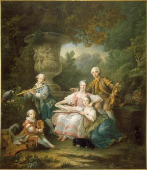 François Hubert Drouais, The Sourches family 1756, oil on canvas (Château de Versailles, Dist. RMN-Grand Palais / Christophe Fouin)