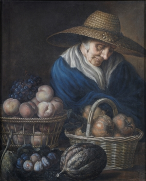 Unknown artist, A Market Woman with Fruit, eighteenth century, pastel on paper, 81.3 × 66 cm (Bath: The Holburne Museum)