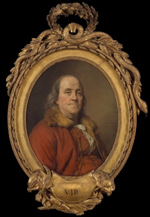 Joseph Siffred Duplessis, Portrait of Benjamin Franklin (The 'Fur Collar' Portrait), 1778, oil on canvas; Oval, 72.4 × 58.4 cm (New York: The Metropolitan Museum of Art, 32.100.132).