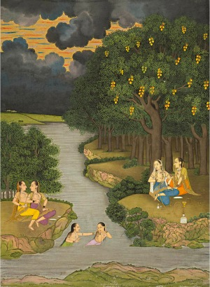 Women Enjoying the River at the Forest's Edge, ca. 1765. Mughal, Murshidabad or Lucknow. Opaque watercolor and gold on paper; 33.1 × 24.9 cm (The Cleveland Museum of Art, 2013.351).