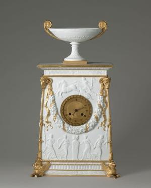 Charles Percier, Clock, by Sèvres Porcelain Manufactory, 1813, bisque porcelain, gold highlights (Sèvres, Cité de la céramique, MNC 13022).