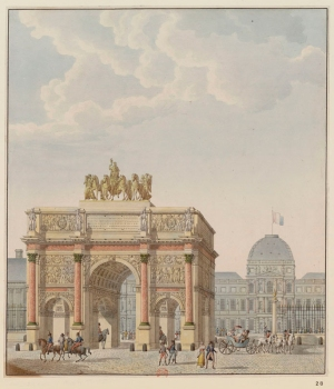 Charles Percier and Pierre Fontaine, Arc du Carrousel, south side view, 1806–15, watercolor and pen (Paris: Bibliothèque nationale de France, département Estampes et photographie, RESERVE FOL-VE-53 C).
