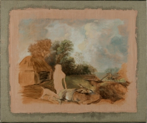 Reconstruction by Kari Rayner, after Thomas Gainsborough, Wooded Landscape with Old Peasant and Donkeys outside a Barn.