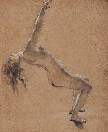 Anne-Louis Girodet, Étude pour la Scène de déluge, figure de la mère, pierre noire et rehauts de craie blanche, 53.7 x 43.9 cm