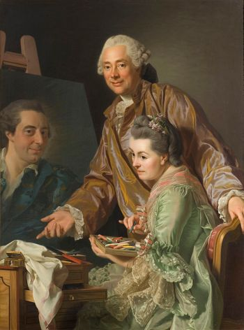 Alexander Roslin, The Artist and His Wife Marie Suzanne Giroust Painting the Portrait of Wilhelm Peill, 1767, oil on canvas 131 × 98.5 cm (Stockholm: Nationalmuseum).