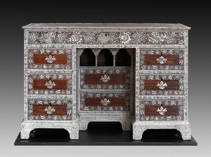 Anglo-Indian desk. Production Place: Vizagapatam, near Madras, in Southern India. Rosewood inlaid with finely engraved ivory, with silver handles, c.1750-1760. On loan to the Fitzwilliam Museum in Cambridge from Lady Hayter since March 2012. Belonged to Sir Thomas Rumbold, 1st Baronet (1736-1791), a British administrator in India.