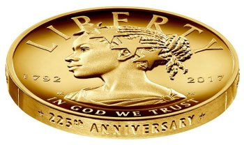 Designed by Justin Kunz and sculpted by Phebe Hemphill, 2017 American Liberty 225th Anniversary Gold Coin.