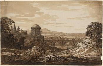 Richard Cooper Jr, Italian Landscape with Bridge, pen and brown ink with brown wash (London: UCL Art Museum 3751).