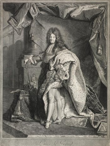 Pierre Drevet after Hyacinthe Rigaud, Portrait of Louix XIV, 1714/15, 39 × 52 cm (Kunsthalle Bremen).