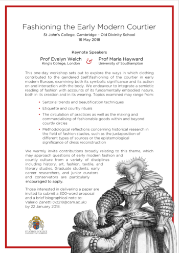 Call for Papers | Fashioning the Early Modern Courtier