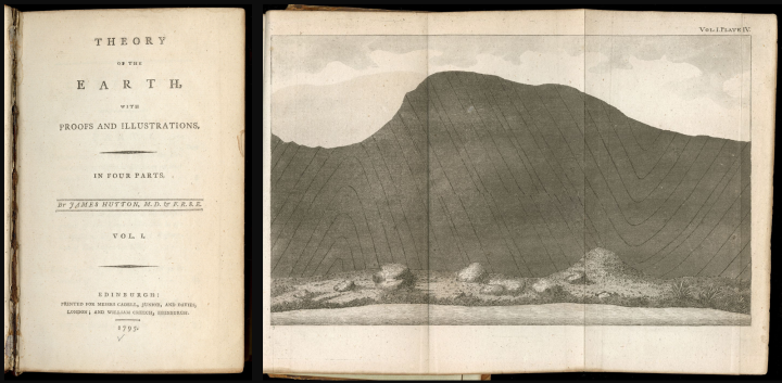 Title page of James Hutton, Theory of the Earth (Edinburgh, 1795) with plate 4 of volume 1 unfolded to show a depiction of a geological formation.
